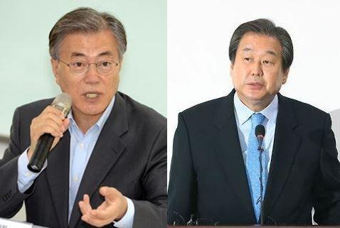 김무성 전 새누리당 대표(왼쪽)은 23일 개헌을 주장했다. 반면 문재인 전 민주당 대표는 정권 연장을 위한 개헌에 반대한다고 밝혔다.