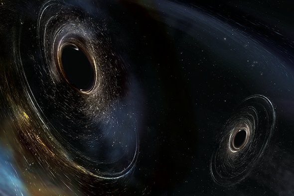 Two abnormally massive black holes spin off-kilter to their orbital plane in this artist's impression of the latest black-hole merger detected by LIGO. The sizes and spin misalignments of these black holes suggest the pair formed in a surprisingly dynamic fashion that theorists are now struggling to understand.Credit: LIGO, Caltech, MIT, Aurore Simonet Sonoma State