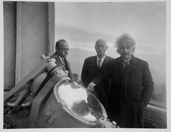 Albert Einstein (right) at the top of the 150-foot solar tower at the Mount Wilson Observatory, with solar physicist Charles St. John (middle) and mathematician Walther Mayer (left). Jan. 29, 1931. The Huntington Library, Art Collections, and Botanical Gardens.