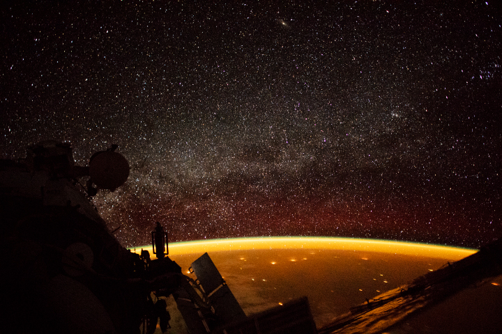 Another image of airglow from the ISS from October 2018. Image Credit: ISS Crew Earth Observations Facility and the Earth Science and Remote Sensing Unit