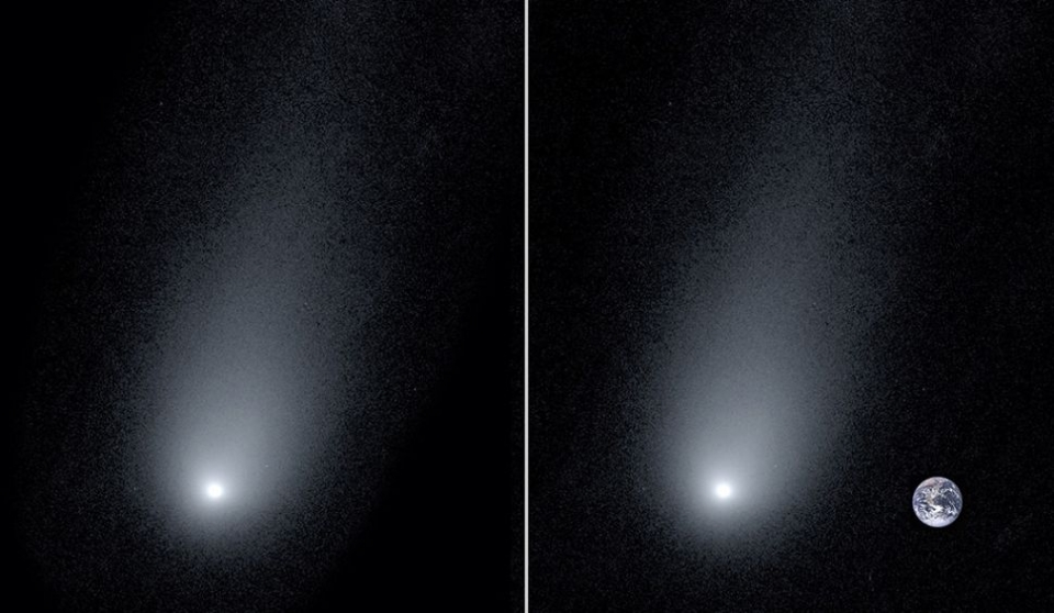 eft: A new image of the interstellar Comet 2l/Borisov. Right: A composite image of the comet with a photo of the Earth to show scale.(Image: © Pieter van Dokkum, Cheng-Han Hsieh, Shany Danieli and Gregory Laughlin)